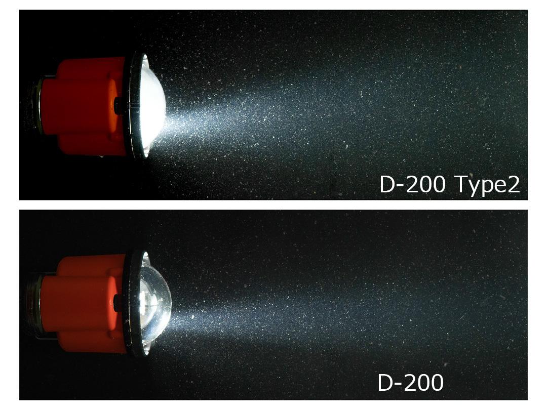 ストロボのフォーカスライト光の軌跡(水中)